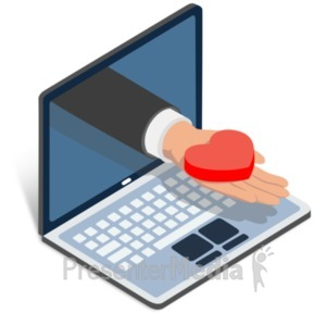 ID# 22758 - Businessman Heart Laptop - Presentation Clipart