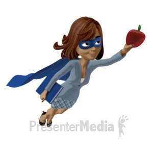 ID# 22765 - Talia Teacher Hero Upward - Presentation Clipart
