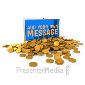 ID# 22767 - Laptop Spill Coins Custom - Presentation Clipart