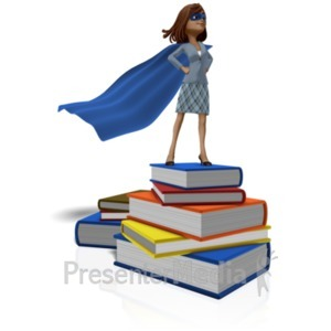 ID# 22768 - Talia On Books Superhero - Presentation Clipart
