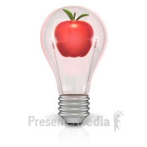ID# 22771 - Apple In Light Bulb - Presentation Clipart