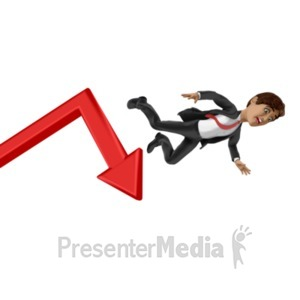 ID# 22773 - Businessman Fall Graph - Presentation Clipart