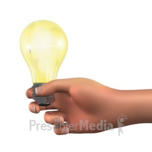 ID# 22781 - Holding Light Bulb Solution - Presentation Clipart