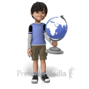 ID# 22865 - James Holding Globe - Presentation Clipart