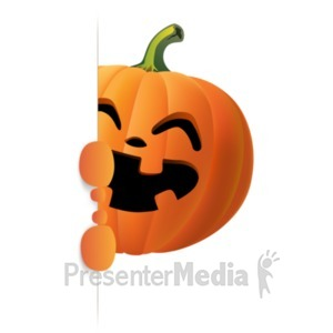 ID# 22894 - Happy Pumpkin Holding Side Sign - Presentation Clipart