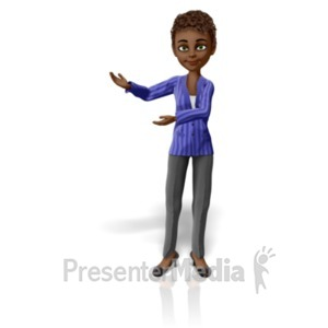 ID# 22961 - Business Woman Present Pose - Presentation Clipart