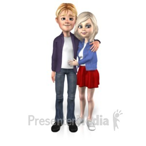 ID# 22985 - Couple Standing Together - Presentation Clipart