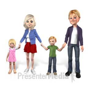 ID# 22986 - Family Together Two Children - Presentation Clipart