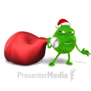 ID# 22994 - Grinchy Character Stealing Christmas Bag - Presentation Clipart