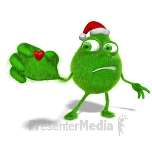 ID# 23040 - Grinchy Character Holding Tiny Heart - Presentation Clipart