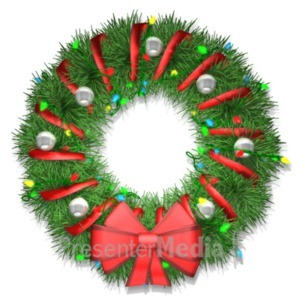 ID# 23046 - Wreath With Lights - Presentation Clipart