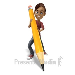 ID# 23140 - School Boy Pencil - Presentation Clipart