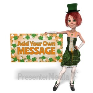 ID# 23194 - St Paddy Hold Sign Custom - Presentation Clipart