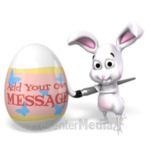ID# 23322 - Easter Bunny Painting Egg Custom - Presentation Clipart