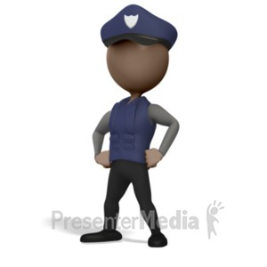 ID# 23365 - Police Officer Pose - Presentation Clipart