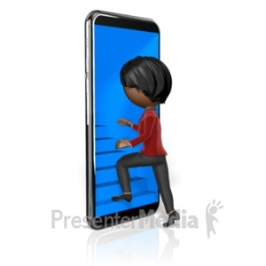 ID# 23368 - Stick Woman Stairs Lead Into Phone - Presentation Clipart