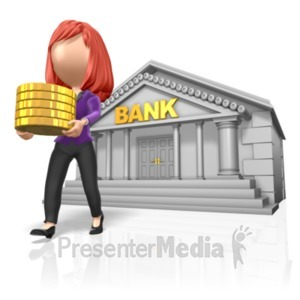 ID# 23383 - Stick Woman Carry Gold From Bank - Presentation Clipart