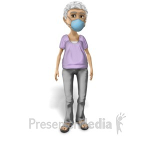 ID# 23423 - Elderly Woman Wearing Protective Mask - Presentation Clipart