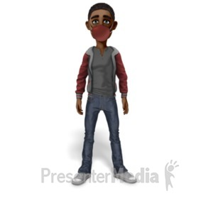ID# 23424 - Guy Standing Wearing Mask - Presentation Clipart