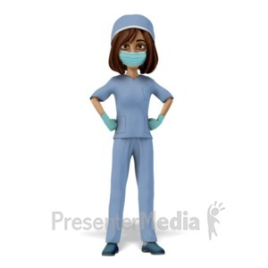 ID# 23428 - Woman Scrubs Mask Stand Proud - Presentation Clipart