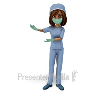 ID# 23429 - Woman Scrubs Mask Presenting - Presentation Clipart