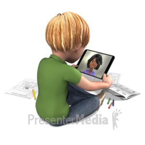 ID# 23442 - Boy Distance Learning Tablet - Presentation Clipart
