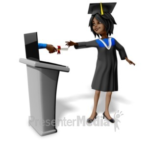 ID# 23452 - Accepting Diploma Online ClipArt Graphic - Presentation Clipart
