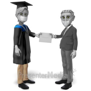 ID# 23466 - Male Student Mask Receiving Diploma - Presentation Clipart