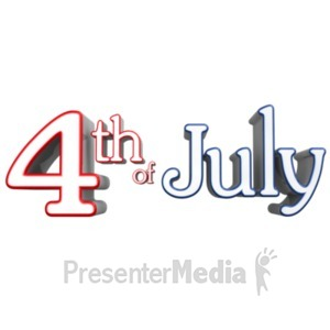 ID# 23595 - Fouth Of July Text - Presentation Clipart