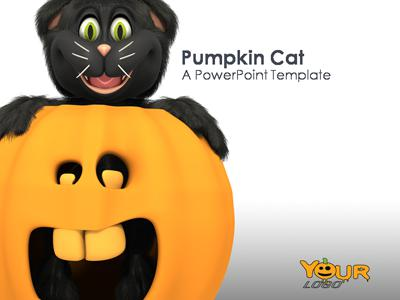 ID# 358 - Pumpkin Cat - PowerPoint Template