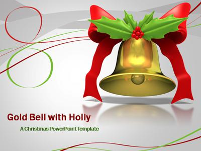 ID# 387 - Gold Bell with Green Holly - PowerPoint Template