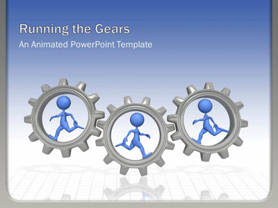 ID# 2675 - Running The Gears - PowerPoint Template