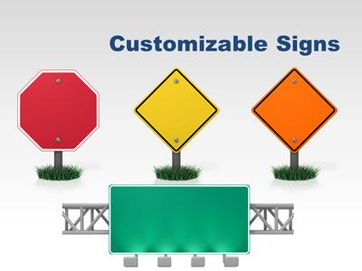 Road Sign Tool Kit - A PowerPoint Template from PresenterMedia.com