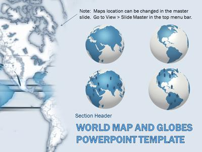 world map and globes a powerpoint template from presentermedia com