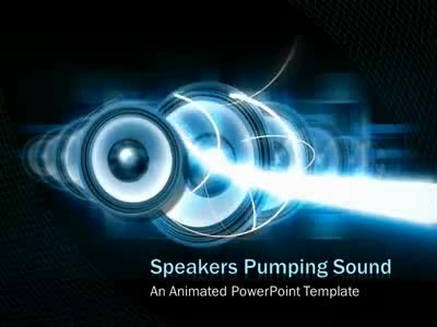 ID# 4514 - Audio Speakers and Light beams - PowerPoint Template