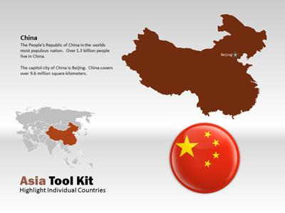 Asia Map Tool Kit - A PowerPoint Template from PresenterMedia.com
