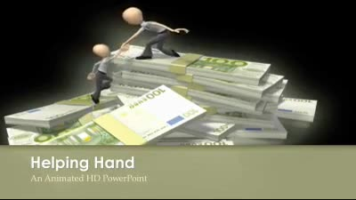 ID# 7329 - Helping up Euro Money Stack - PowerPoint Template