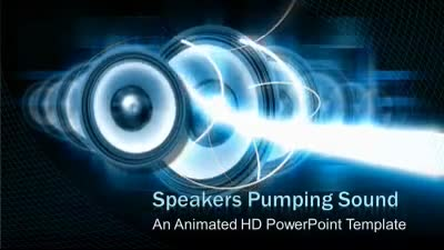 ID# 7425 - Audio Speakers and Light beams - PowerPoint Template