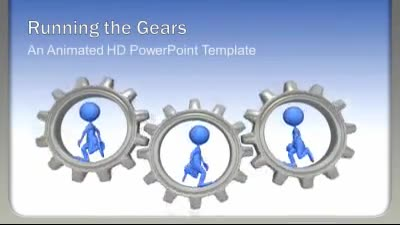 ID# 7534 - Running The Gears - PowerPoint Template