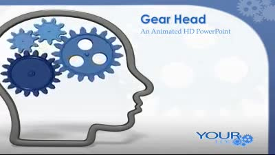 ID# 7568 - Head Outline With Gears - PowerPoint Template