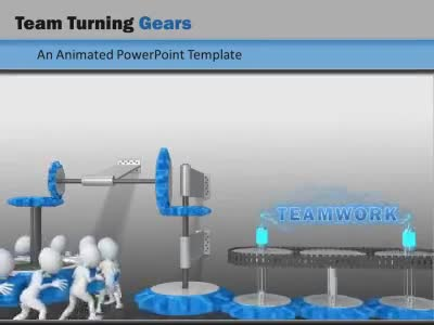 ID# 8796 - Team Turning Gears - PowerPoint Template
