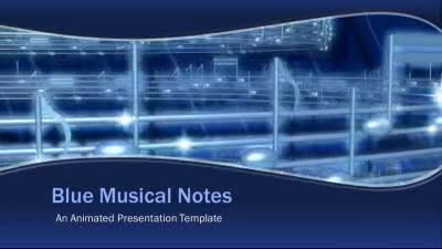 ID# 12974 - Blue Musical Notes - PowerPoint Template