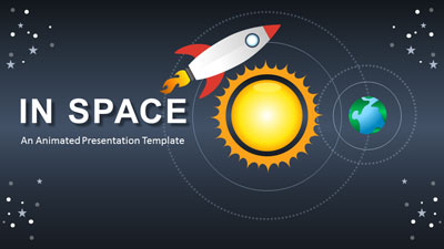 ID# 21727 - Rocket In Space - PowerPoint Template