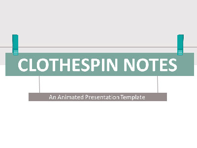 ID# 21773 - Clothespin Notes - PowerPoint Template