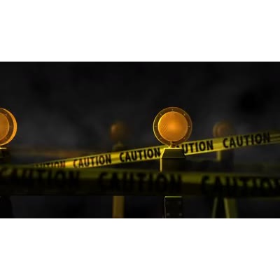 ID# 8651 - Caution Tape and Lights - Video Background