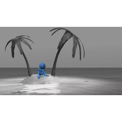 ID# 9436 - Stranded Stick Figure on Island - Video Background