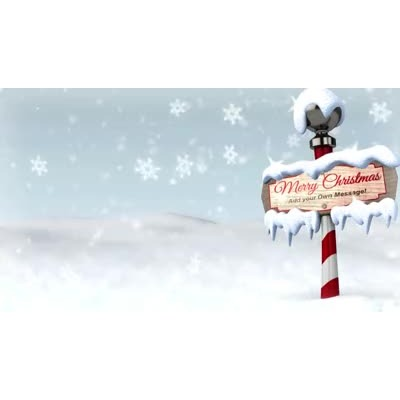 ID# 17945 - Snowy North Pole Sign Custom - Video Background