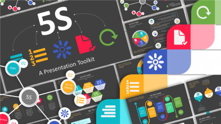 A collage of presentation slides from 5s Toolkit Template PowerPoint Template