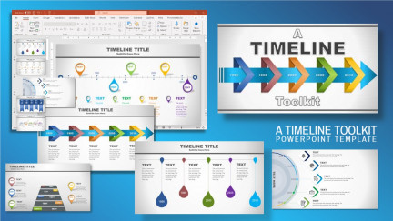 A collage of presentation slides from A Timeline PowerPoint Template