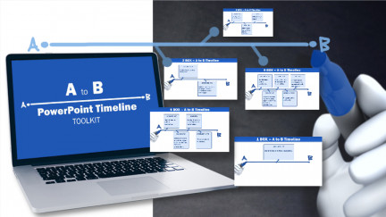 A collage of presentation slides from A To B Timeline Toolkit PowerPoint Template